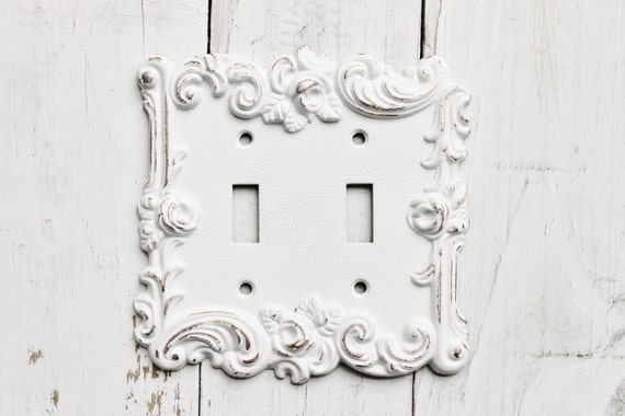 Distressed Metal Wall Sconces : Distressed Metal Wall Decor Double Light Switch Cover White