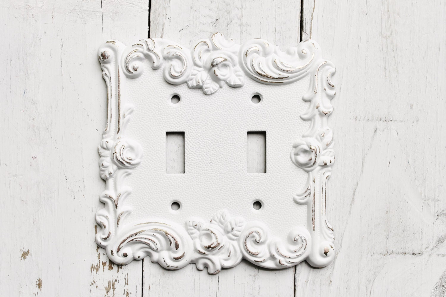 Distressed Metal Wall Decor : Distressed metal wall decor double light switch cover white