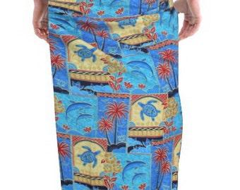 La Leela Tropical Printed Swimwear Beach Swim Wrap Men's Sarong Blue-123296