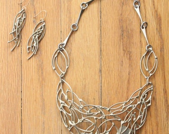 Vintage 70's Abstract Brutalist Handmade Brass Necklace and Earring Set
