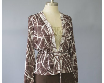 SALE - 70s Jacket Geometric Abstract Print Peplum Blazer Jacket Mod Jacket White & Brown Jacket Abstract Jacket 1970s Jacket