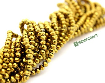 Gold Beads, Small Faceted Glass Beads, 150pc Strand, AB Color Plated Glass Beads, 4x3mm