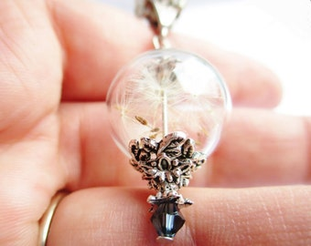 Dandelion Seed Glass Orb Terrarium Necklace with a Blue Crystal, Small Orb In Silver, Bridesmaids Gifts