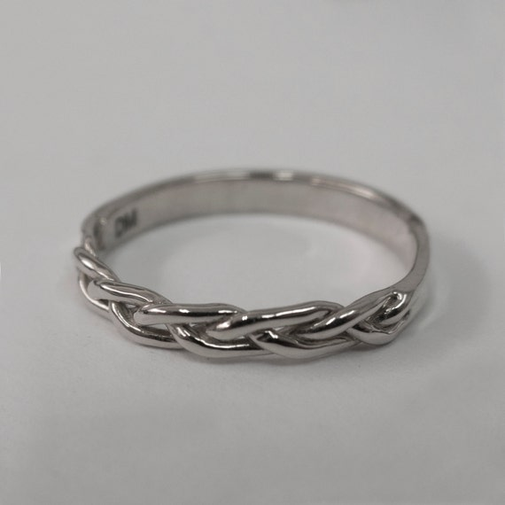 braided ring no 4 14k white gold stackable ring