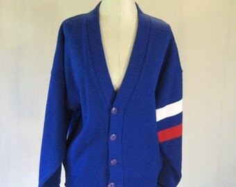 1950s Red, White, & Blue Knit Cardigan Top
