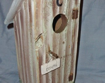 OUTHOUSE Birdhouse in Grey Green with blue roof FREE Shipping