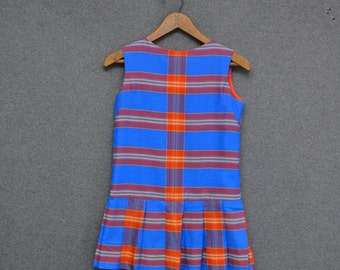 1970s Girl's Plaid Scooter Dress