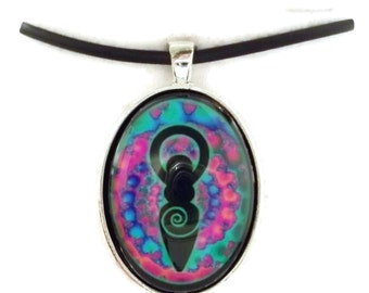 Cotton Candy Spiral Metallic Spiral Goddess Digital Art Pendant