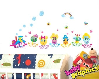 removable funny train wall stickers set for children - by babygraphics