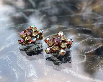 Weiss AB Rhinestone Earrings - Dainty but Dazzling!