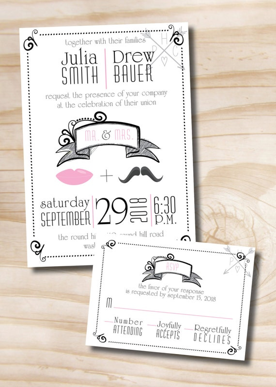 Lips and Mustache Vintage Wedding Invitation and Response Card - Printable Invitation