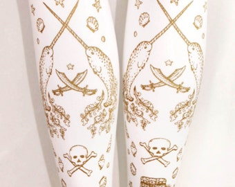 S M Pirate Tights Narwhals Small Medium Gold on White Women Nautical Tattoo Sailor