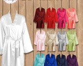 Silk Satin Robes, Wedding Robes, Blank Satin Robes, Plain Satin Robes Bridesmaid Satin Robes, Kimono Robe, Plus Size Robe, US Seller