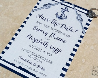 Nautical Save the Date card or post card. Anchor and heart knot save the date.