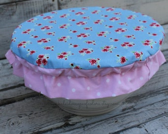 "Vintage Floral Pink and Blue Rose Reusable Bowl Cover 12"" inch Bowl"