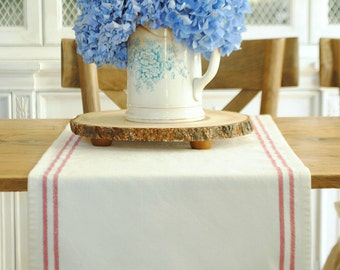 Farmhouse stripe table runner- red, white and blue - small