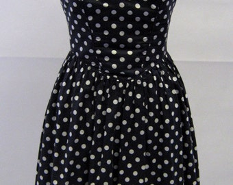 Vintage Laura Ashley Polka Dot Prom Dress UK Size 8