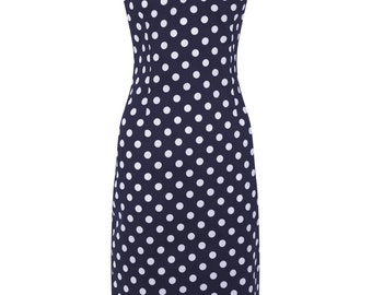 New Vintage Style Navy Polka Dot Dolores Wiggle/Pencil Dress Rockabilly Pin Up 50s