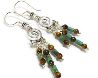Turquoise Earrings, Boho Turquoise, Chandelier Earrings, Tigers Eye Earrings,  Turquoise Jewelry, Unique Earrings