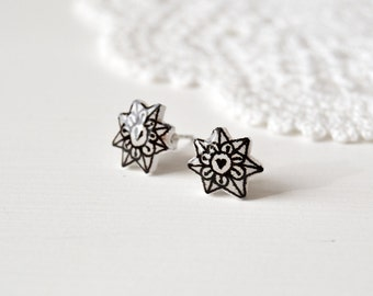 Black and white stars flowers post earrings in shrink plastic and resin