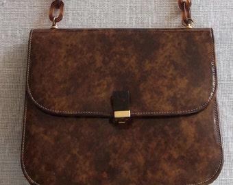 Vintage 50's - 60's MORRIS MOSKOWITZ Hand Bag Purse Patent Leather Tortoiseshell