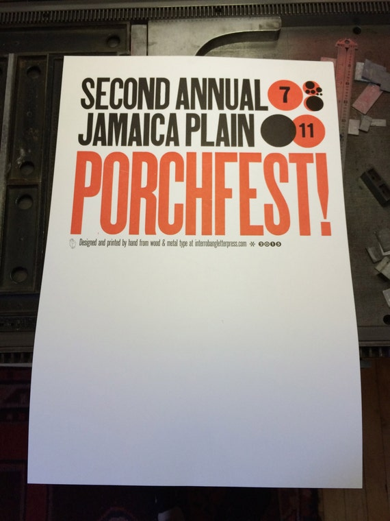 Letterpress Poster - Jamaica Plain PorchFest 2015