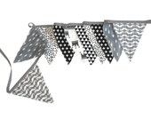 BLACK WHITE Fabric Bunting Banner- Kids Room Decor- Flag bunting- photography- Fabric flags -Black White Grey- Monochrome nursery
