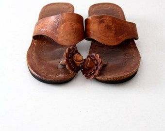 vintage 70s tooled leather sandals, slides with toe post