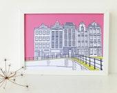 Amsterdam Print, Hot Pink art print, artwork, Print of Amsterdam, Holland, Picture of Amsterdam, Picture of Canal Houses