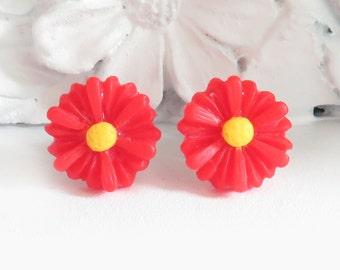 Red Daisy Stud Earrings