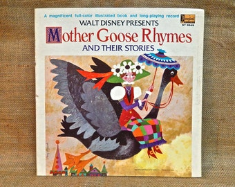 Walt Disney presents - Mother Goose Rhymes - 1970 Vintage Vinyl Gatefold Record Album..Includes Full-Color Illustrated Book