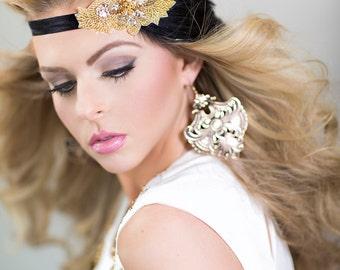 Gold Headband, Gold Headpiece, Black Feather Headband, Wedding Headband, Wedding Headpiece