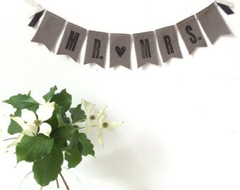 MR. [heart] MRS. Wedding Fabric Banner / Sign - Gray - Eco-friendly