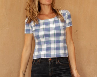 vintage CROP TOP plaid GRUNGE summer shirt