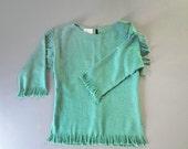 RESERVED for Y. Vintage 1980s Turquoise Fringe Blouse. Southwest Fringe Top. Size Small