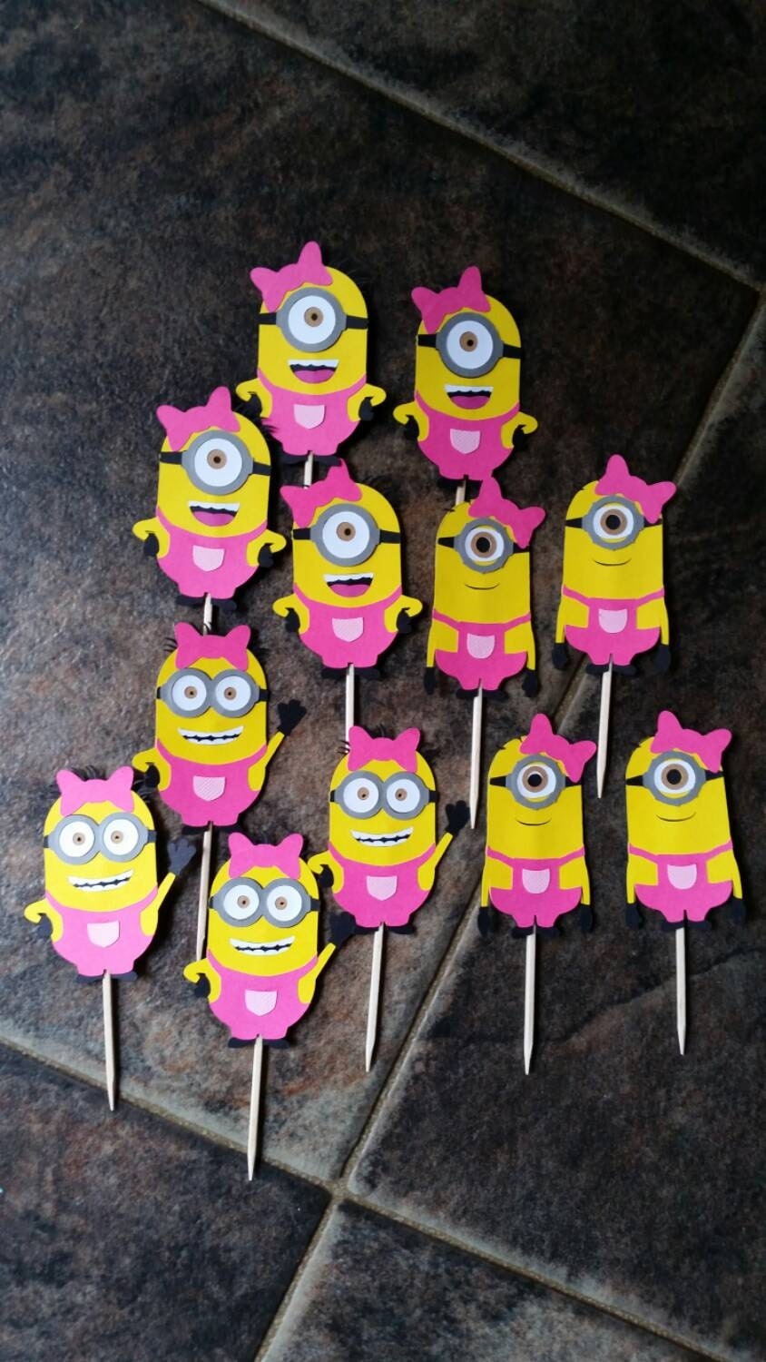 Google themes minions - Girl Minion Cupcake Toppers Hot Pink With Hair Bow Diecut Cardstock Birthday Party Decorations Picks 3 Kinds Set Of 12