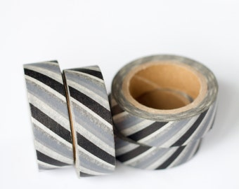WASHI TAPE CLEARANCE - 1 Roll of Silver Gray, Black, and White Stripe Washi Tape / Decorative Masking Tape (.60 inches x 33 feet)