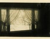 "Vintage Photo ""Chilling Observations"" Window Snapshot Photo Old Antique Photo Black & White Photograph Found Photo Paper Ephemera - 172"
