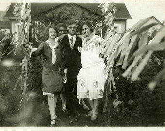 "Vintage Photo ""Backyard Celebrations"" Fun Party Decor Garland Snapshot Photo Old Antique Black & White Photograph Found Paper Ephemera - 90"