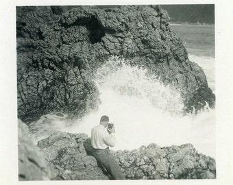 "Vintage Photo ""Capturing Waves"" Camera Snapshot Photo Old Antique Photo Black & White Photograph Found Photo Paper Ephemera Vernacular - 182"