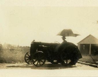 "Vintage Photo ""The Shrouded Farmer"" Farm Tractor Snapshot Photo Old Antique Black & White Photograph Found Paper Ephemera Vernacular - 109"