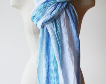 Summer scarf, cotton scarf, long skinny scarf, infinity scarf, green and blue pastel scarf