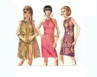 1960s Tent Dress Pattern, Shift Pattern, Sleeveless Dress, Bateau Neckline Dress, Bust 32 Size 12, Simplicity 6911, Vintage Sewing Pattern