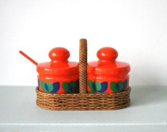 Vintage Condiment Set by Emsa of West Germany - Orange Bologna Series