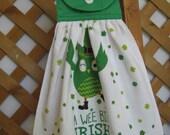 "St Patricks Owl and Shamrock Kitchen Tea Towel ""A Wee Bit Irish"" St. Pats Day Hanging Kitchen Dish Towel LAST ONES SnowNoseCrafts"