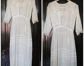 Edwardian Wedding Dress / Antique White Lace Dress / 1910s Lawn Dress Extra Small