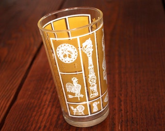 Vintage, Harvest Gold High Ball Glass Tumbler, Yellow and White print of antique motifs