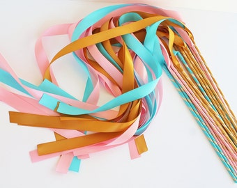 50 Magical Wedding Ribbon Wands IN YOUR COLORS (shown in deep gold, aqua, and pink) Add color to your wedding ceremony exit