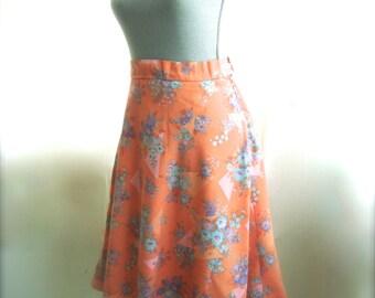 Cute Little Peach Floral Summer Skirt, Size Medium