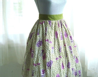 1950's Novelty Print Skirt, Kitchen Herbs and Spices, Pleated Circle Skirt, Size Large